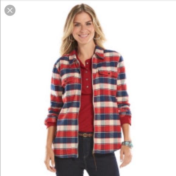 0ff825c292a Chaps Tops - CHAPS denim plaid front zip flannel shirt M